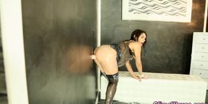 Wam bukkake cum shower at gloryhole