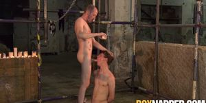 Face fucked twink gagging on masters big hard cock