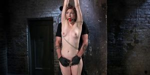 Brunette made to squirt in hogtie