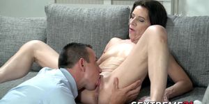 Mature beauty penetrated big cock style and fed cum