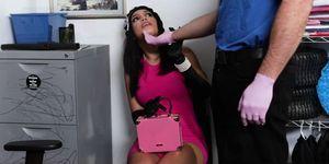 Teen Alina on her knees sucking officer Jmacs huge cock