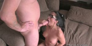 Amateur with glasses has casting