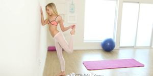Tiny4k Blonde Bree Mitchells fucked after at home yoga session