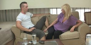 Blonde slut deepthroats and rides cock