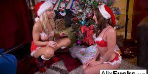 Christmas lesbian romp between two hot chicks