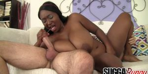 Huge Boobed Ebony Marie Leone Sucks a Thick White Cock Before Riding It