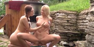 Beautiful country babes having threesome fun in their teens