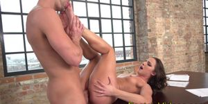 Flat Chested Slut Plowed by Huge Cock