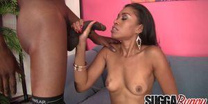 Ebony Slut Yasmine De Leon Happily Sucks and Fucks a Black Cock