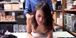 Skinny pierced Asian thief slut fucked hard on CCTV