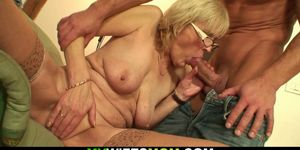 Fucking old girlfriends blonde granny on the table