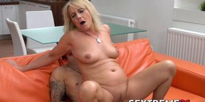 Blonde granny Jane Nelle dicks with young stud Dom Ully