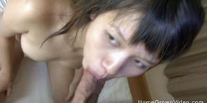 Petite hairy Thai amateur cant handle a big cock
