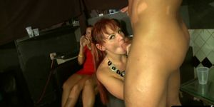 Facialized MILF sucking cock at a party