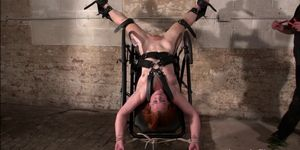 Upside down pussy punishment and swedish amateur bdsm of redhead slavegirl in candle wax pain and spanking in device bondage dun