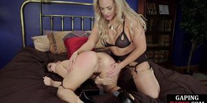 EVERYTHING BUTT - Gaping lesbian babes take turns fisting toying and licking asses in kinky couple