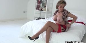 Cheating english milf lady sonia exposes her big breasts