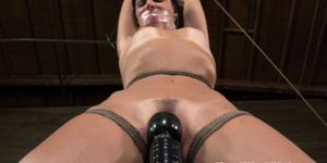 Open mouth and tape gag sub toyed