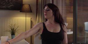 Tattooed maid tastes jizz after sex