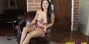 Latina babe Viv in bright dress flashing pussy