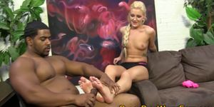 Blonde gets feet fucked