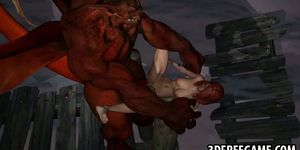 3D redhead sucks cock and gets fucked hard anally