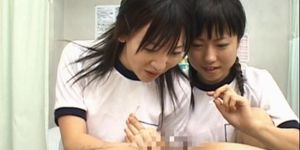 Jap school girls toying and strapon fucking man ass