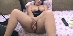 sexy camgirl plays on webcam with me