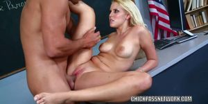 Teen hottie Vanessa Cage takes dick from an older guy