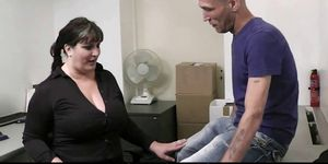 Busty lady in pantyhose rides dick at work Porn Videos