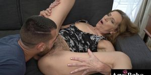 Viol is a horny granny who bangs with young a cock