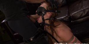 Gagged nympho Callie Calypso deepthroats before anal