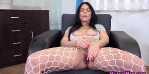 Lustful bitch in sexy lingerie plays with dildo