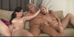 Hot girl sucks and rides old mans cock