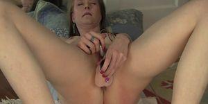 Petite Hot MILF with small tits dildo fucks herself