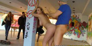 Slut railed in public