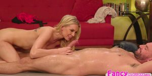 Naked masseuse Kenzie Taylor slides a clients dick in her pussy