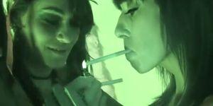 Charley Chase and Alia Janine Smoking