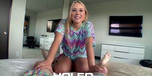 HOLED - Sexy blonde Alyssa Cole shoves dick in her booty hole