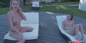 Sunbathing teens fuck a voyeur Porn Videos