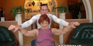 Horny granny loves riding a young stiff cock in cowgirl position