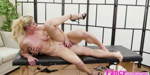 Busty milf India Summer gives a bj on the massage table
