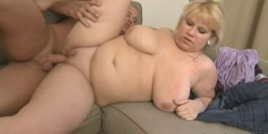 Chubby blonde lures him into sex