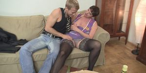 Old hairy pussy granny in black stockings