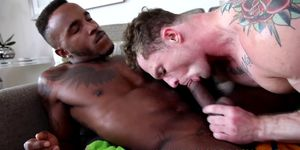 Bottom homo takes on black and white dick with pleasure