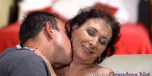 Granny Bounces on Huge Cock