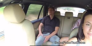 Handsome guy bangs beautiful taxi driver pov