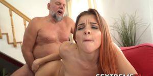 Sensual Nubile Swallows Cum After Riding Hard Older Dick