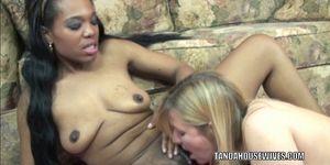 Mature lesbo Liisa fucks ebony slut Kelly with her toys