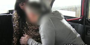 Busty beautiful British amateur anal fucked in fake taxi
